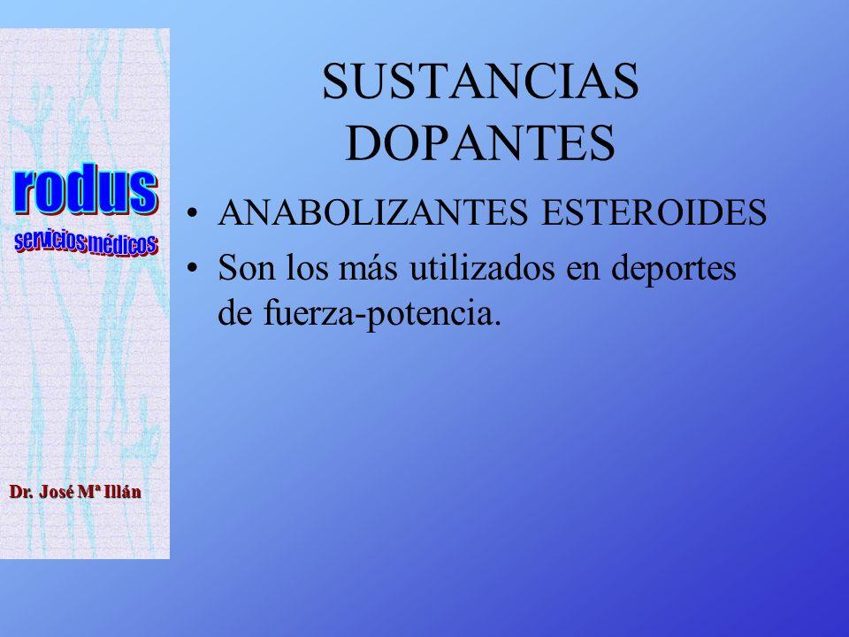 Dr. José Mª Illán SUSTANCIAS DOPANTES ANABOLIZANTES ESTEROIDES Son los más utilizados en deportes de fuerza-potencia.