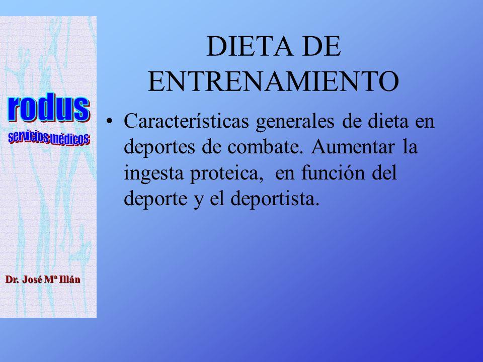 Dr.José Mª Illán DIETA DE ENTRENAMIENTO Características generales de dieta en deportes de combate.