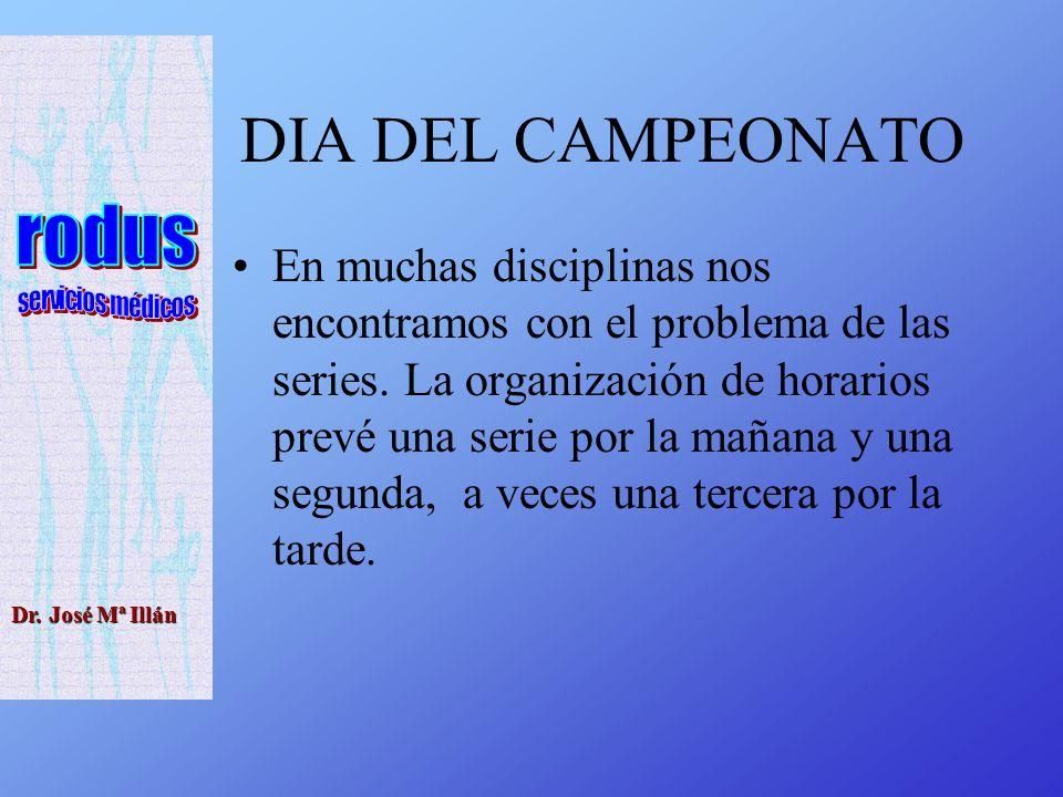 Dr. José Mª Illán DIA DEL CAMPEONATO En muchas disciplinas nos encontramos con el problema de las series. La organización de horarios prevé una serie