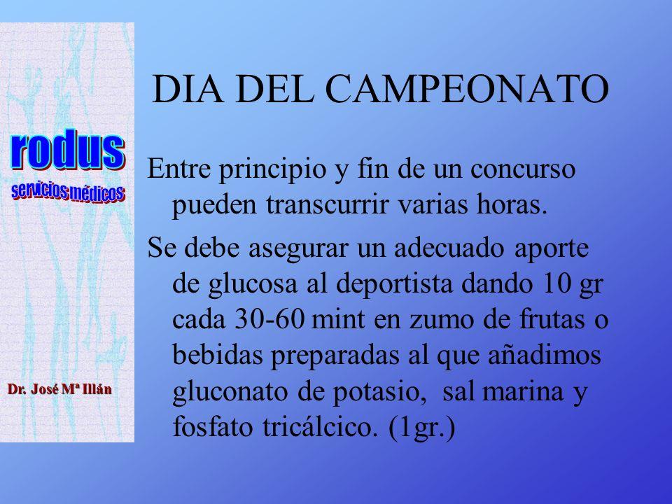 Dr. José Mª Illán DIA DEL CAMPEONATO Entre principio y fin de un concurso pueden transcurrir varias horas. Se debe asegurar un adecuado aporte de gluc