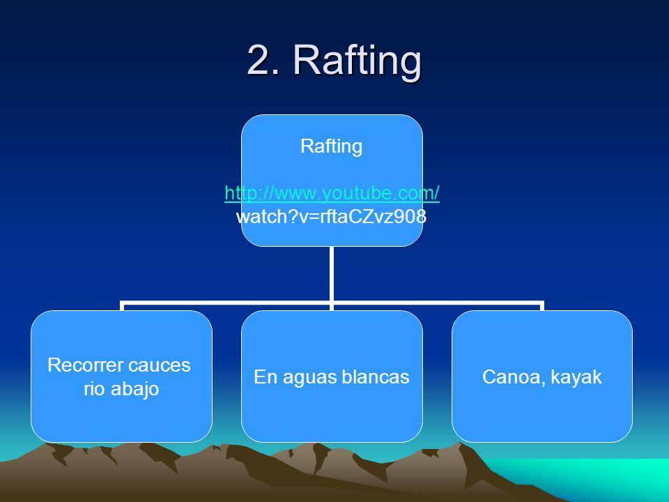 2. Rafting Rafting http://www.youtube.com/ watch?v=rftaCZvz908 Recorrer cauces rio abajo En aguas blancasCanoa, kayak