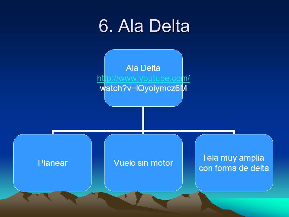 6. Ala Delta Ala Delta http://www.youtube.com/ watch?v=lQyoiymcz6M PlanearVuelo sin motor Tela muy amplia con forma de delta