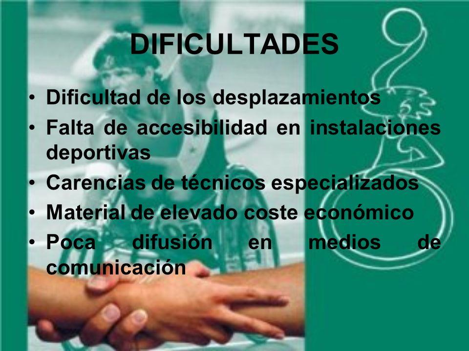 DIFICULTADES Dificultad de los desplazamientos Falta de accesibilidad en instalaciones deportivas Carencias de técnicos especializados Material de elevado coste económico Poca difusión en medios de comunicación
