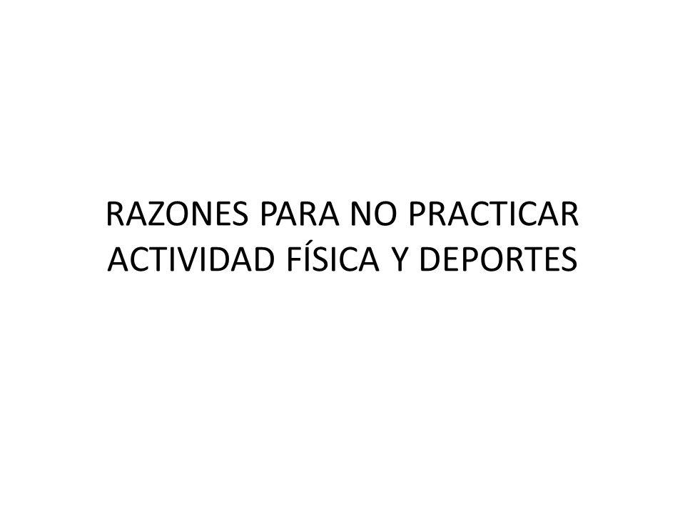 RAZONES PARA NO PRACTICAR ACTIVIDAD FÍSICA Y DEPORTES