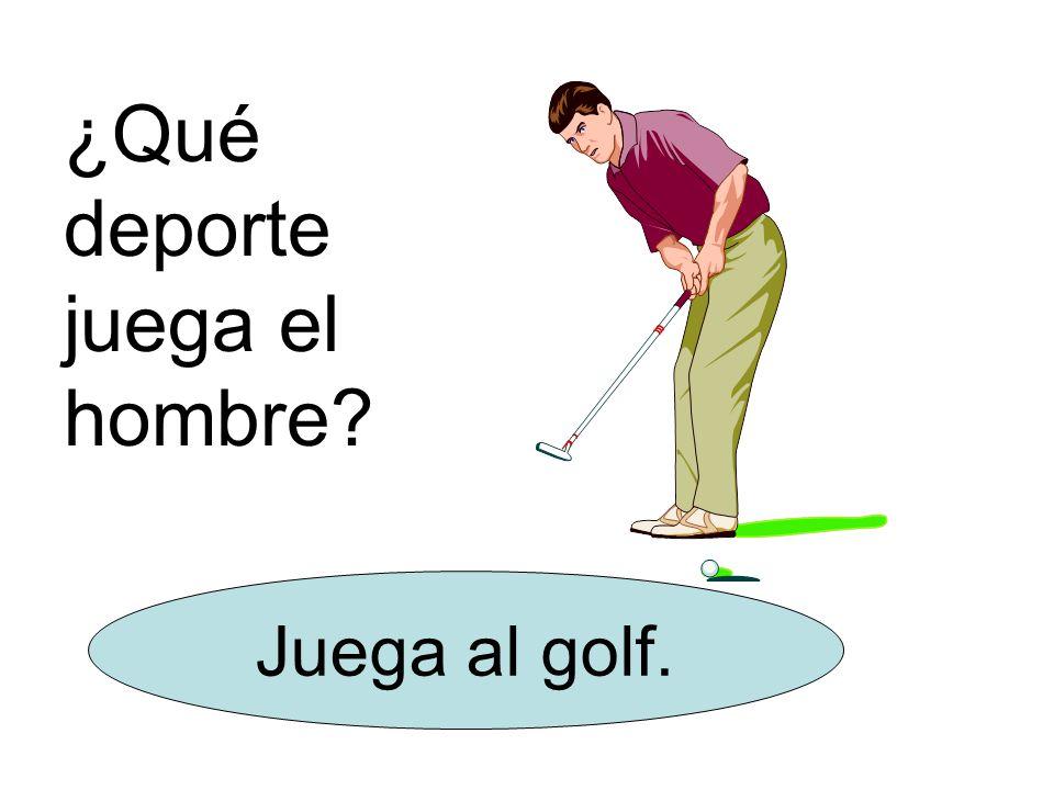 ¿Qué deporte juega el hombre? Juega al golf.