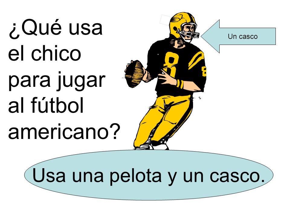 ¿Qué usa el chico para jugar al fútbol americano? Usa una pelota y un casco. Un casco