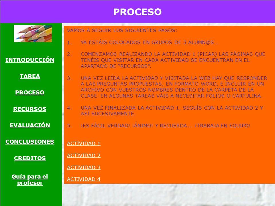 PROCESO INTRODUCCIÓN TAREA PROCESO RECURSOS EVALUACIÓN CONCLUSIONES CREDITOS Guía para el profesor VAMOS A SEGUIR LOS SIGUIENTES PASOS: 1.YA ESTÁIS COLOCADOS EN GRUPOS DE 3 ALUMN@S.
