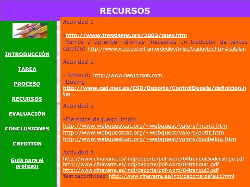 RECURSOS INTRODUCCIÓN TAREA PROCESO RECURSOS EVALUACIÓN CONCLUSIONES CREDITOS Guía para el profesor Actividad 1 - http://www.tressisens.org/2003/ques.htm http://www.tressisens.org/2003/ques.htm -Vamos a aprender idiomas (necesitas un traductor de textos catalán) http://www.xtec.es/col-amordedios/misc/traductor.htm#catalan http://www.xtec.es/col-amordedios/misc/traductor.htm#catalan Actividad 2 - Artículo: http://www.benJonson.com http://www.benJonson.com -Doping: http://www.csd.mec.es/CSD/Deporte/ControlDopaje/definicion.h tm http://www.csd.mec.es/CSD/Deporte/ControlDopaje/definicion.h tm Actividad 3 -Ejemplos de juego limpio: http://www.webquestcat.org/~webquest/valors/monti.htm http://www.webquestcat.org/~webquest/valors/monti.htm http://www.webquestcat.org/~webquest/valors/petit.htm http://www.webquestcat.org/~webquest/valors/bachelda.htm Actividad 4 http://www.cfnavarra.es/indj/deporte/pdf-word/04tranquiDodecalogo.pdf http://www.cfnavarra.es/indj/deporte/pdf-word/04tranqui1.pdf http://www.cfnavarra.es/indj/deporte/pdf-word/04tranqui2.pdf Test deportividad: http://www.cfnavarra.es/indj/deporte/default.htmlhttp://www.cfnavarra.es/indj/deporte/default.html