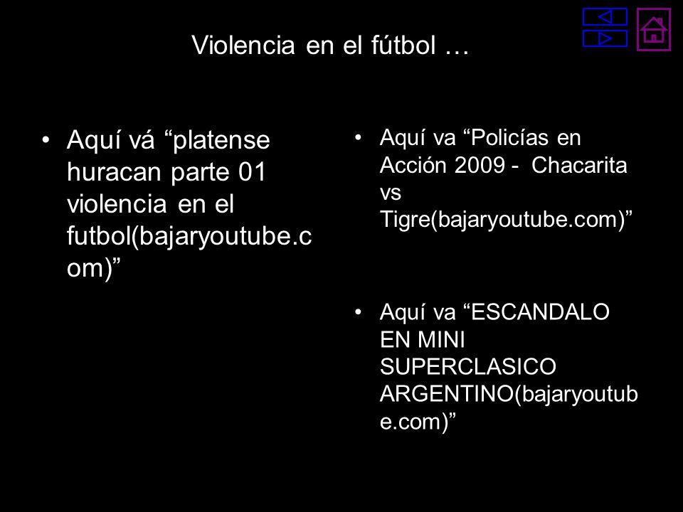 Aquí vá platense huracan parte 01 violencia en el futbol(bajaryoutube.c om) Aquí va Policías en Acción 2009 - Chacarita vs Tigre(bajaryoutube.com) Aqu