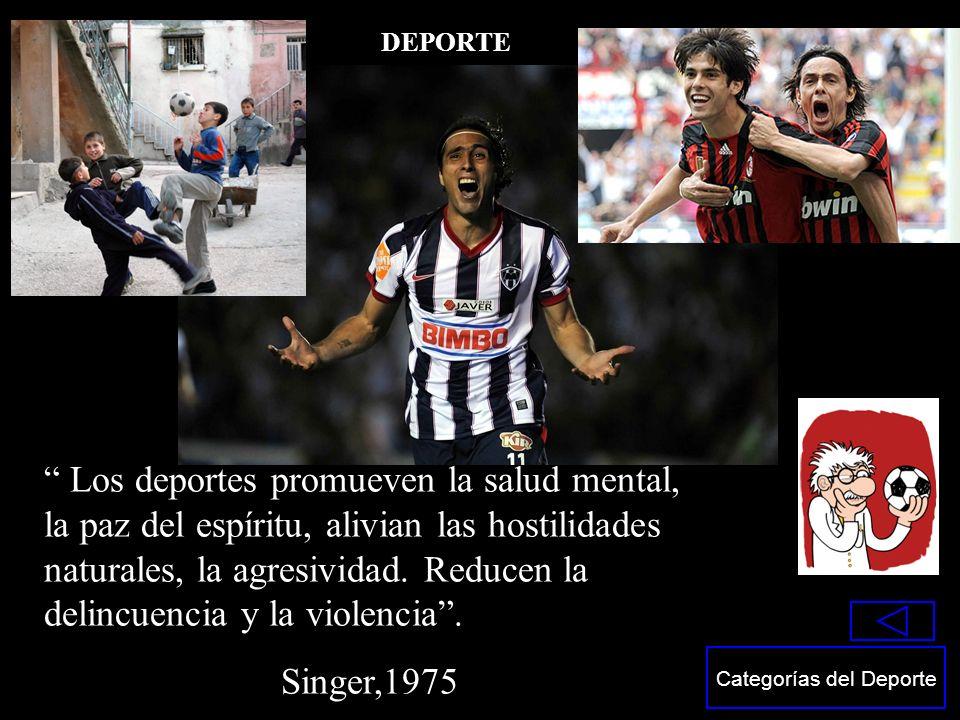 Los deportes promueven la salud mental, la paz del espíritu, alivian las hostilidades naturales, la agresividad. Reducen la delincuencia y la violenci