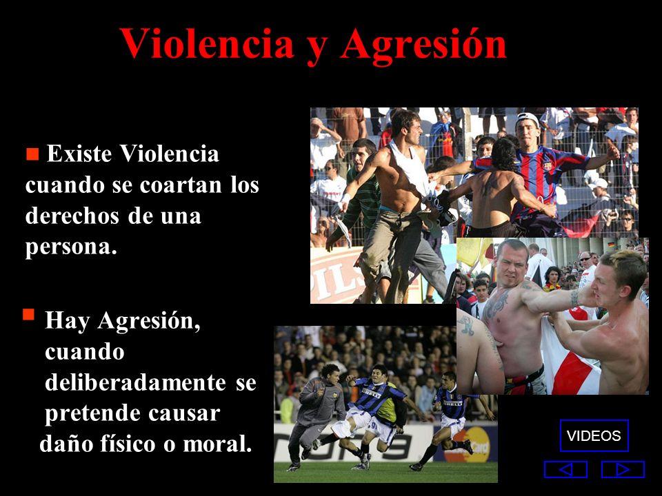 Violencia y Agresión Hay Agresión, cuando deliberadamente se pretende causar daño físico o moral. Existe Violencia cuando se coartan los derechos de u