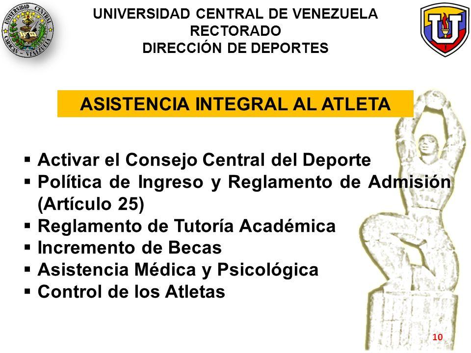 UNIVERSIDAD CENTRAL DE VENEZUELA RECTORADO DIRECCIÓN DE DEPORTES Activar el Consejo Central del Deporte Política de Ingreso y Reglamento de Admisión (