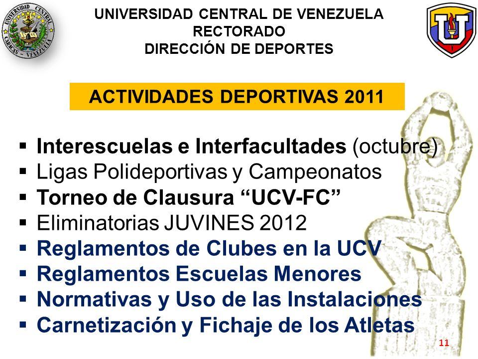 UNIVERSIDAD CENTRAL DE VENEZUELA RECTORADO DIRECCIÓN DE DEPORTES Interescuelas e Interfacultades (octubre) Ligas Polideportivas y Campeonatos Torneo d