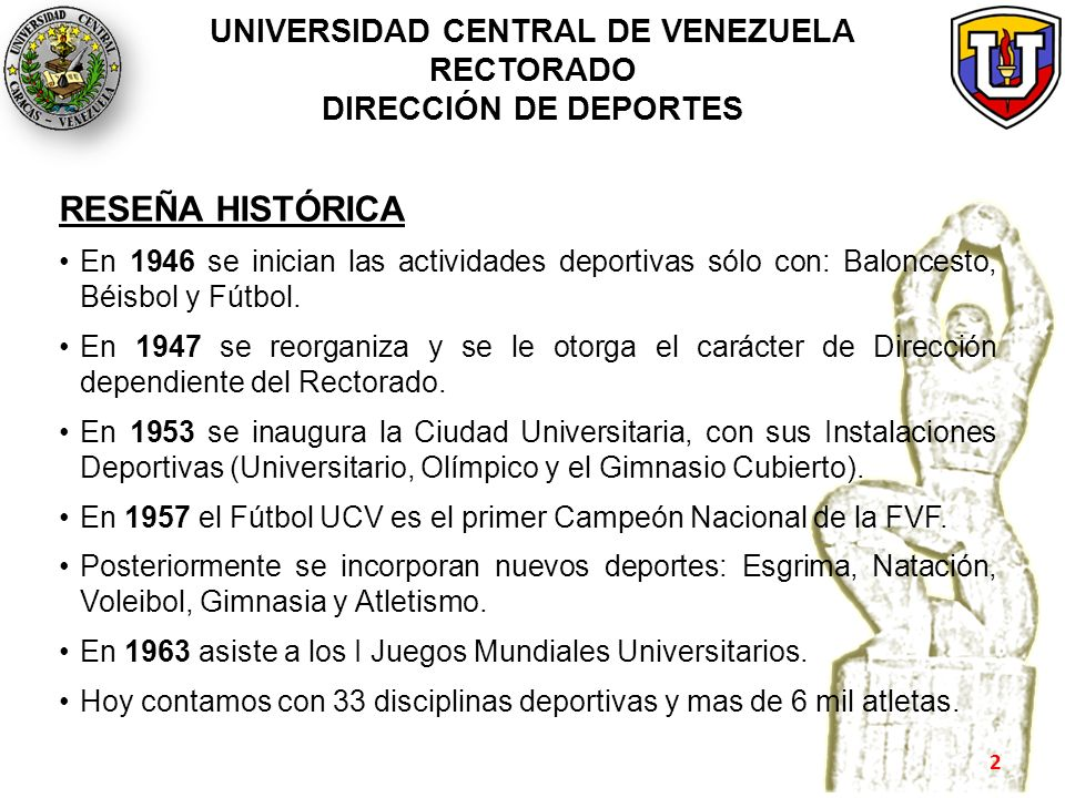 UNIVERSIDAD CENTRAL DE VENEZUELA RECTORADO DIRECCIÓN DE DEPORTES RESEÑA HISTÓRICA En 1946 se inician las actividades deportivas sólo con: Baloncesto,