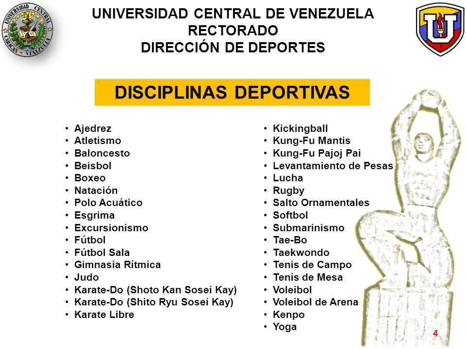 UNIVERSIDAD CENTRAL DE VENEZUELA RECTORADO DIRECCIÓN DE DEPORTES Ajedrez Atletismo Baloncesto Beisbol Boxeo Natación Polo Acuático Esgrima Excursionis