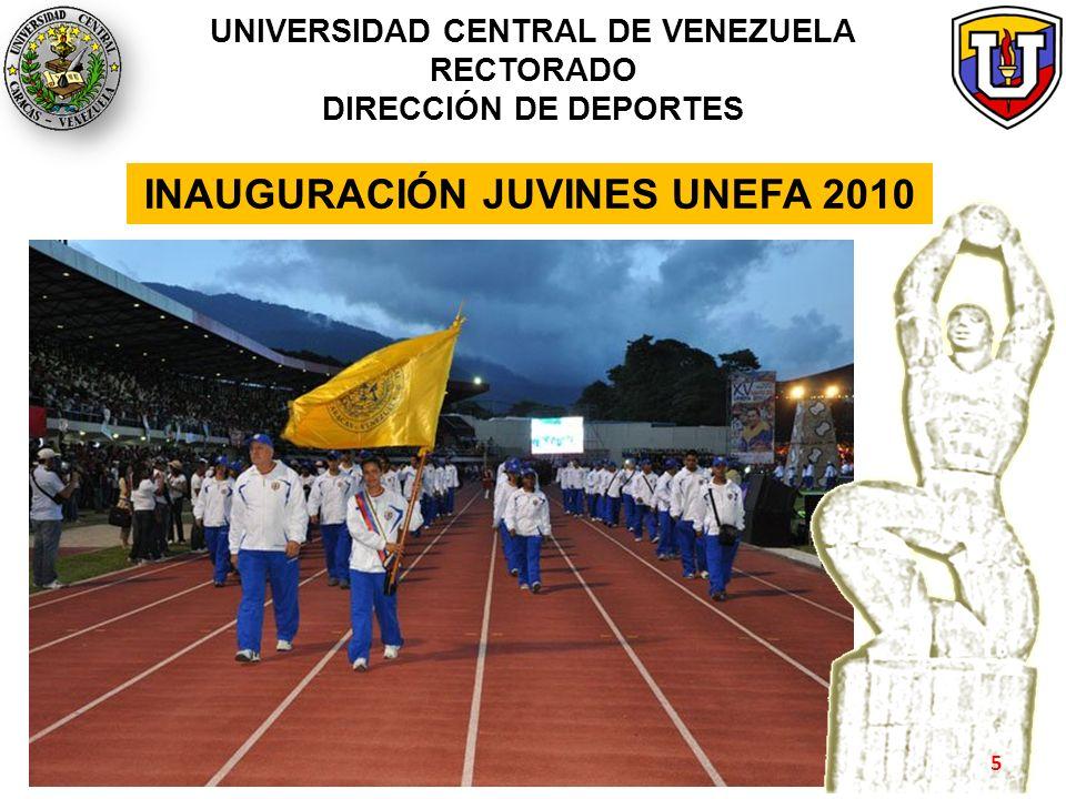 PARTICIPACIÓN Y RESULTADOS JUVINES UNEFA 2010 UNIVERSIDAD CENTRAL DE VENEZUELA RECTORADO DIRECCIÓN DE DEPORTES Ajedrez Atletismo Baloncesto Beisbol (Medalla de Bronce) Natación (Medalla de Oro) Polo Acuático (No asistió) Esgrima Fútbol Fútbol Sala Gimnasia Rítmica (Medalla de Plata) Judo Karate-Do Kickingball (Medalla de Oro) Levantamiento de Pesas Lucha Softbol Taekwondo Tenis de Campo (Medalla de Oro) Tenis de Mesa Voleibol Voleibol de Arena 6