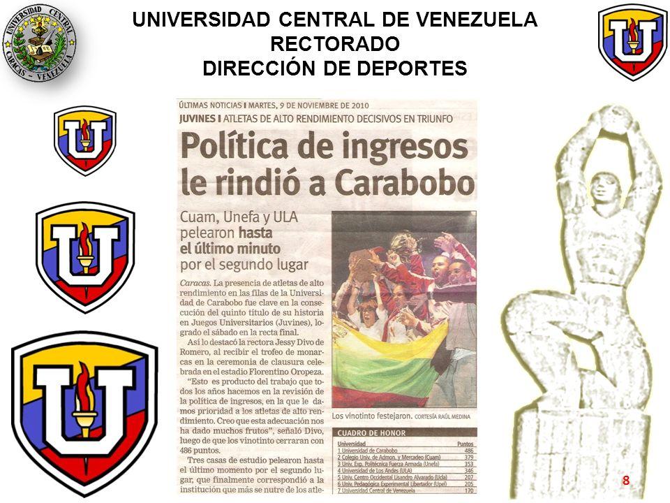 UNIVERSIDAD CENTRAL DE VENEZUELA RECTORADO DIRECCIÓN DE DEPORTES 8