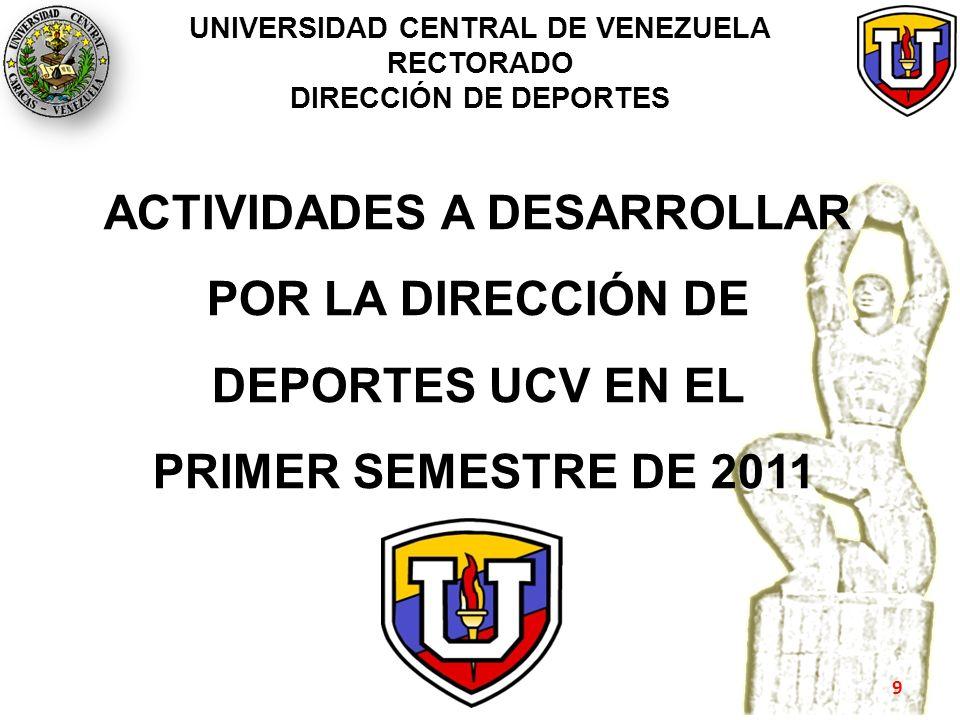 ACTIVIDADES A DESARROLLAR POR LA DIRECCIÓN DE DEPORTES UCV EN EL PRIMER SEMESTRE DE 2011 9
