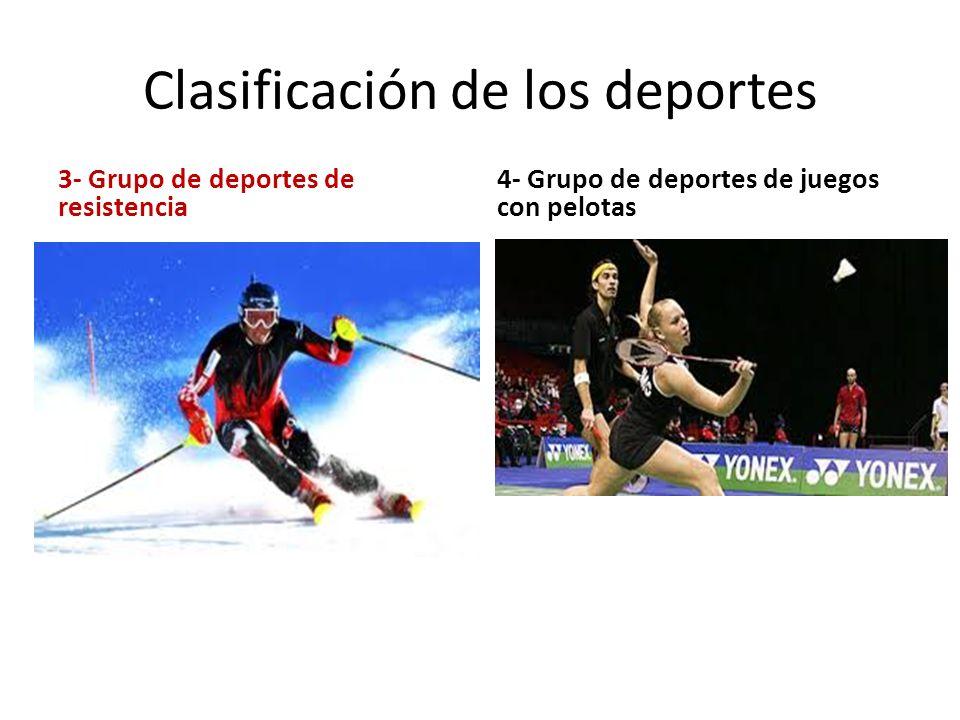 Clasificación de los deportes 3- Grupo de deportes de resistencia 4- Grupo de deportes de juegos con pelotas