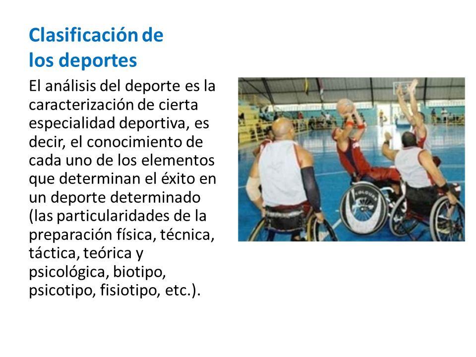 Clasificación de los deportes El análisis del deporte es la caracterización de cierta especialidad deportiva, es decir, el conocimiento de cada uno de