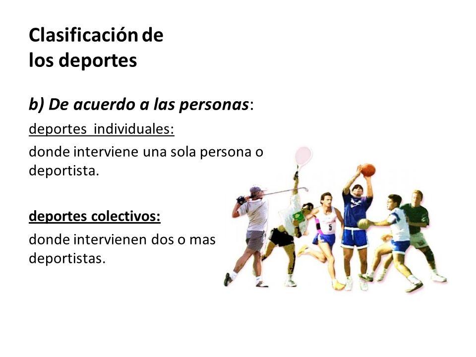 Clasificación de los deportes b) De acuerdo a las personas: deportes individuales: donde interviene una sola persona o deportista. deportes colectivos