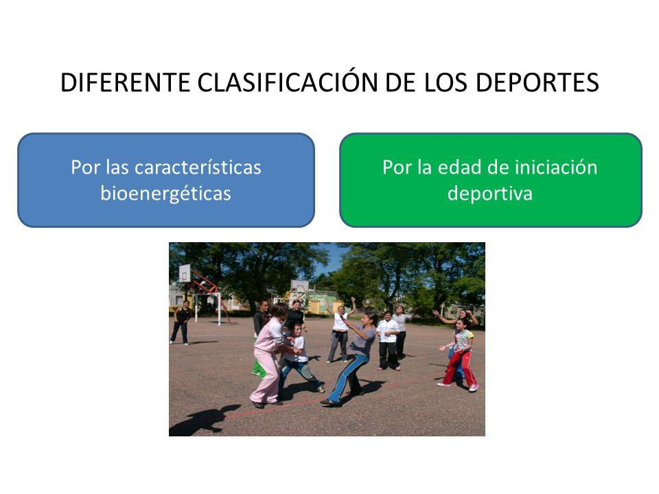 DIFERENTE CLASIFICACIÓN DE LOS DEPORTES Por las características bioenergéticas Por la edad de iniciación deportiva