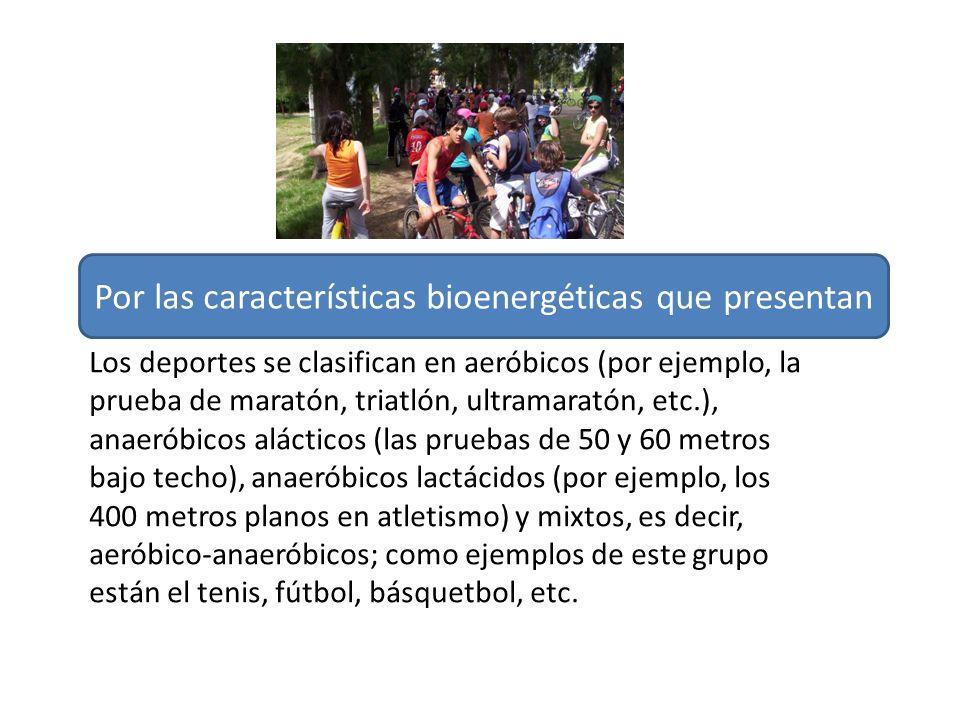 Los deportes se clasifican en aeróbicos (por ejemplo, la prueba de maratón, triatlón, ultramaratón, etc.), anaeróbicos alácticos (las pruebas de 50 y