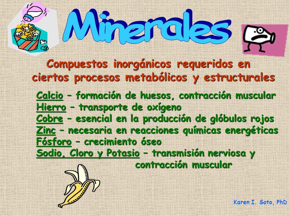 Compuestos inorgánicos requeridos en Compuestos inorgánicos requeridos en ciertos procesos metabólicos y estructurales Karen I. Soto, PhD Calcio – for