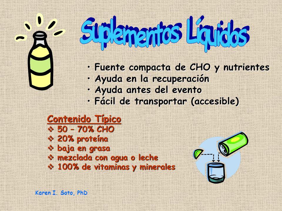 Fuente compacta de CHO y nutrientes Fuente compacta de CHO y nutrientes Ayuda en la recuperación Ayuda en la recuperación Ayuda antes del evento Ayuda antes del evento Fácil de transportar (accesible) Fácil de transportar (accesible) Contenido Típico 50 – 70% CHO 50 – 70% CHO 20% proteína 20% proteína baja en grasa baja en grasa mezclada con agua o leche mezclada con agua o leche 100% de vitaminas y minerales 100% de vitaminas y minerales Karen I.