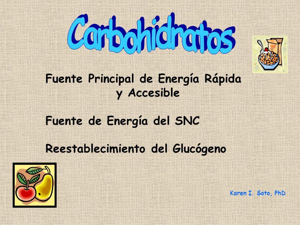 Fuente Principal de Energía Rápida y Accesible Fuente de Energía del SNC Reestablecimiento del Glucógeno Karen I.