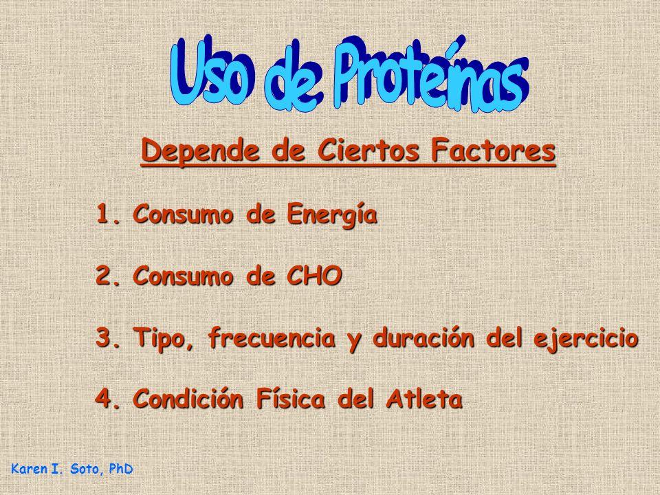 Depende de Ciertos Factores Depende de Ciertos Factores 1. Consumo de Energía 2. Consumo de CHO 3. Tipo, frecuencia y duración del ejercicio 4. Condic
