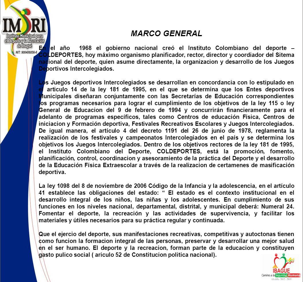 MARCO GENERAL En el año 1968 el gobierno nacional creó el Instituto Colombiano del deporte – COLDEPORTES, hoy máximo organismo planificador, rector, director y coordiador del Sitema nacional del deporte, quien asume directamente, la organizacion y desarrollo de los Juegos Deportivos Intercolegiados.