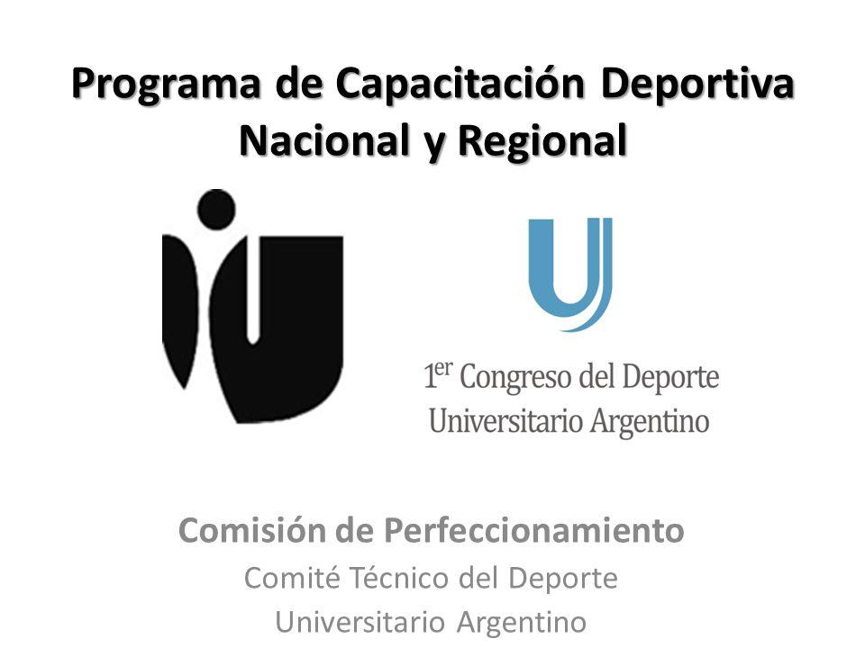 Programa de Capacitación Deportiva Nacional y Regional Comisión de Perfeccionamiento Comité Técnico del Deporte Universitario Argentino