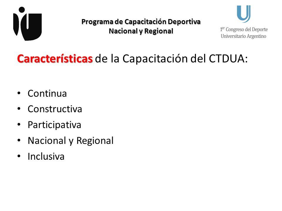 Programa de Capacitación Deportiva Nacional y Regional Características Características de la Capacitación del CTDUA: Continua Constructiva Participativa Nacional y Regional Inclusiva