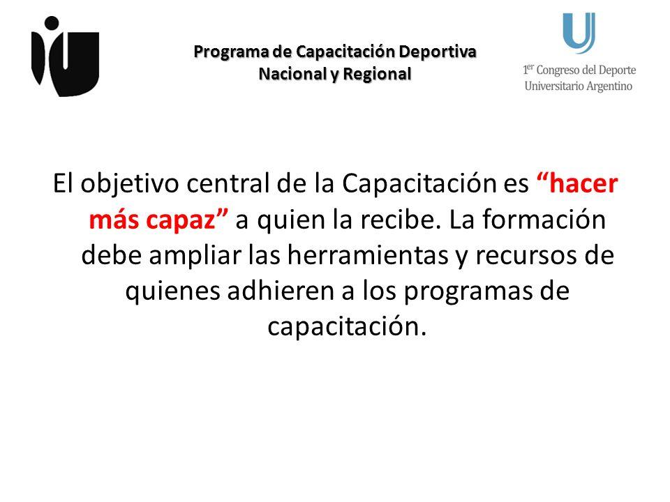Programa de Capacitación Deportiva Nacional y Regional El objetivo central de la Capacitación es hacer más capaz a quien la recibe.