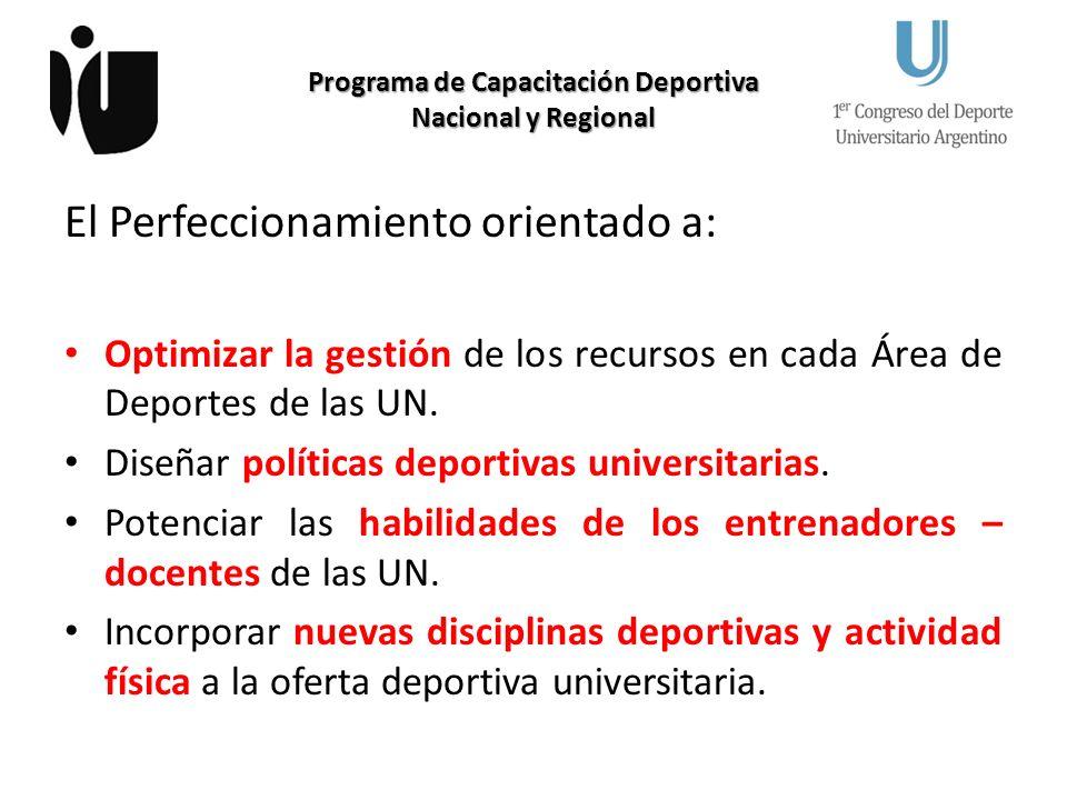 Programa de Capacitación Deportiva Nacional y Regional El Perfeccionamiento orientado a: Optimizar la gestión de los recursos en cada Área de Deportes de las UN.