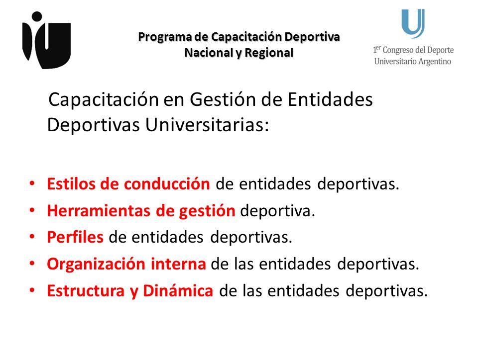 Programa de Capacitación Deportiva Nacional y Regional Capacitación en Gestión de Entidades Deportivas Universitarias: Estilos de conducción de entidades deportivas.