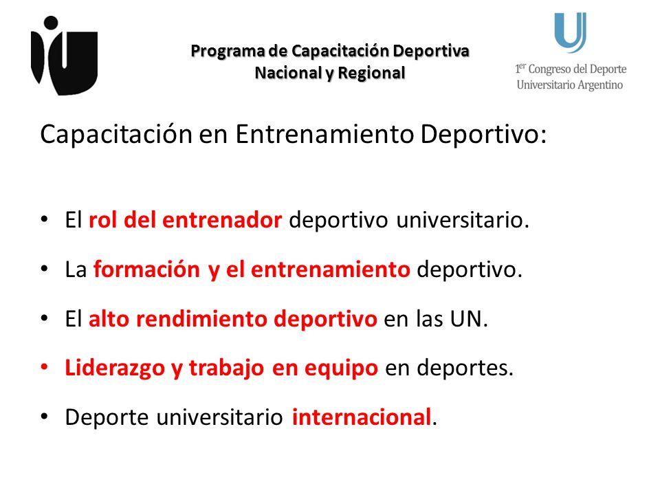 Programa de Capacitación Deportiva Nacional y Regional Capacitación en Actividad Física Recreativa: Actividad física para estudiantes universitarios.