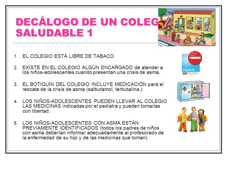 DECÁLOGO DE UN COLEGIO SALUDABLE 1 1. EL COLEGIO ESTÁ LIBRE DE TABACO. 2. EXISTE EN EL COLEGIO ALGÚN ENCARGADO de atender a los niños-adolescentes cua
