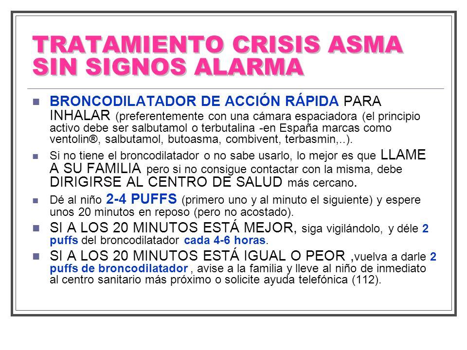 TRATAMIENTO CRISIS ASMA SIN SIGNOS ALARMA BRONCODILATADOR DE ACCIÓN RÁPIDA PARA INHALAR (preferentemente con una cámara espaciadora (el principio acti