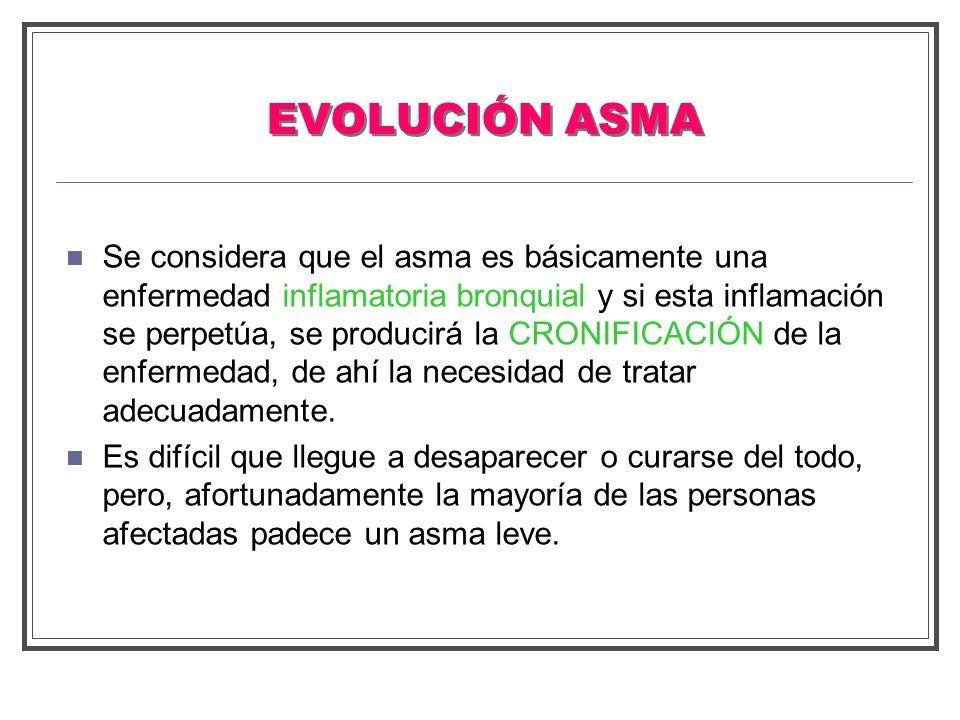 EVOLUCIÓN ASMA Se considera que el asma es básicamente una enfermedad inflamatoria bronquial y si esta inflamación se perpetúa, se producirá la CRONIF