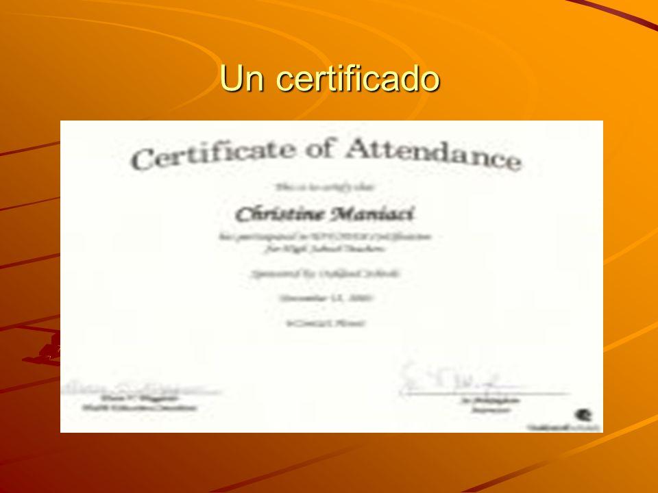 Un certificado