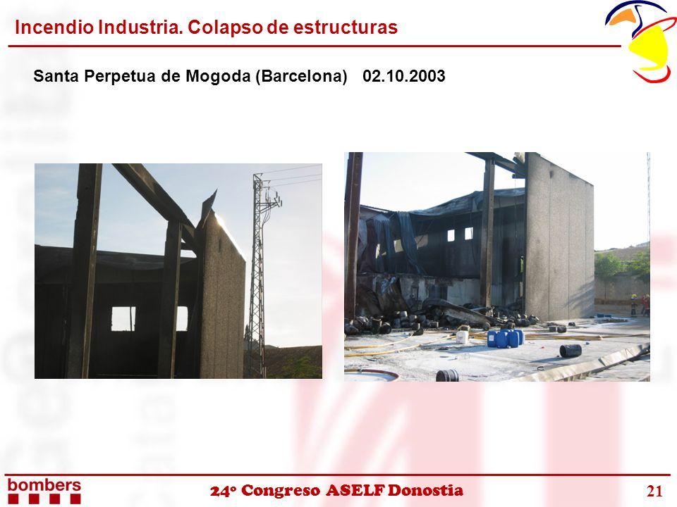 24º Congreso ASELF Donostia Incendio Industria. Colapso de estructuras Santa Perpetua de Mogoda (Barcelona) 02.10.2003 21