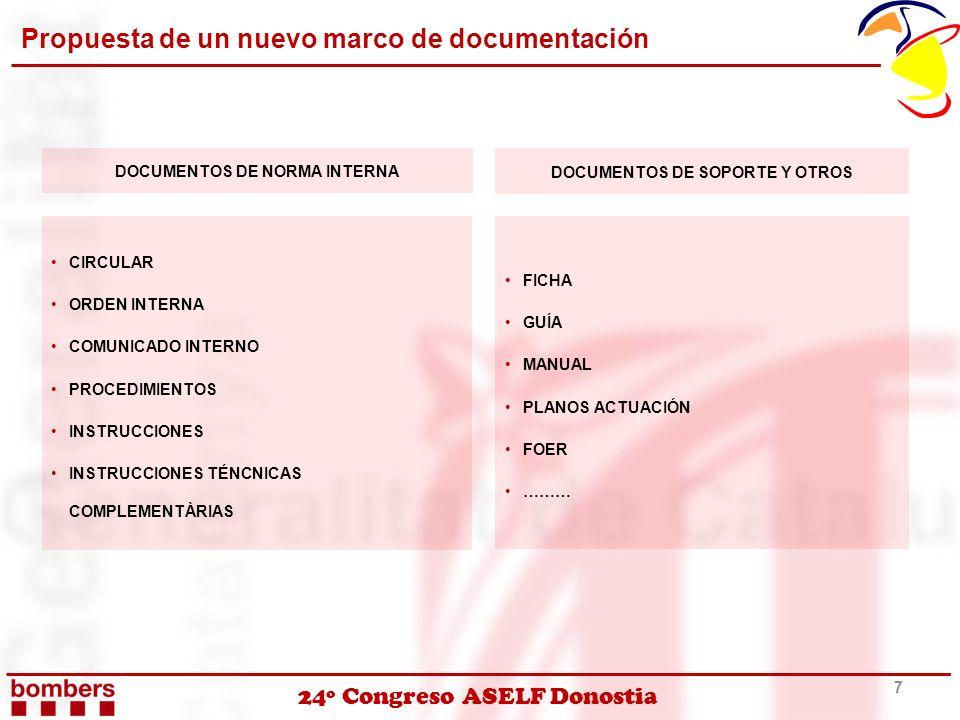 24º Congreso ASELF Donostia Propuesta de un nuevo marco de documentación 7 DOCUMENTOS DE NORMA INTERNA DOCUMENTOS DE SOPORTE Y OTROS CIRCULAR ORDEN IN