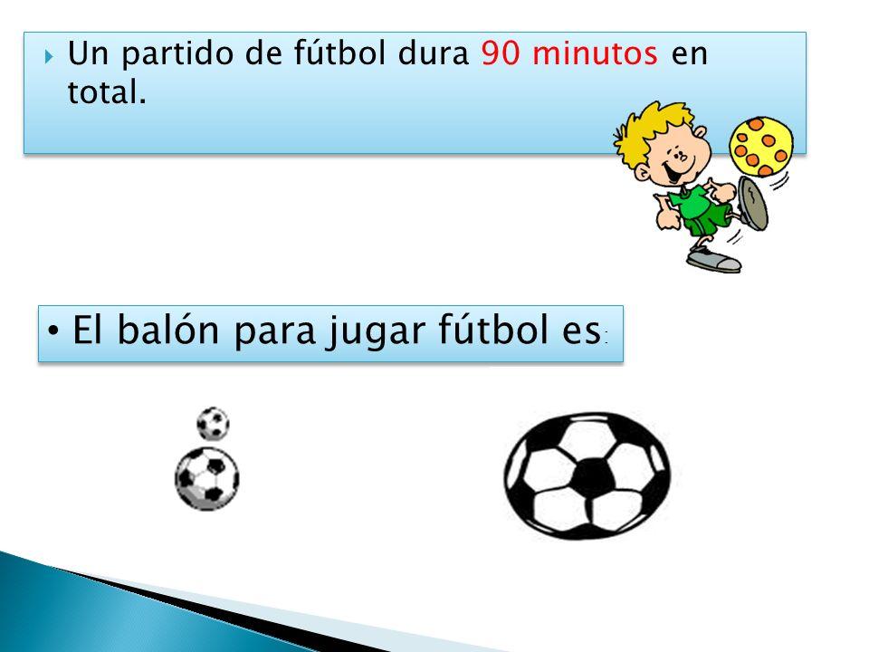 Un partido de fútbol dura 90 minutos en total. El balón para jugar fútbol es :