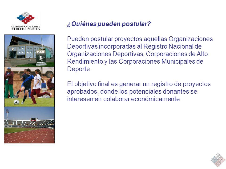 ¿Quiénes pueden postular? Pueden postular proyectos aquellas Organizaciones Deportivas incorporadas al Registro Nacional de Organizaciones Deportivas,