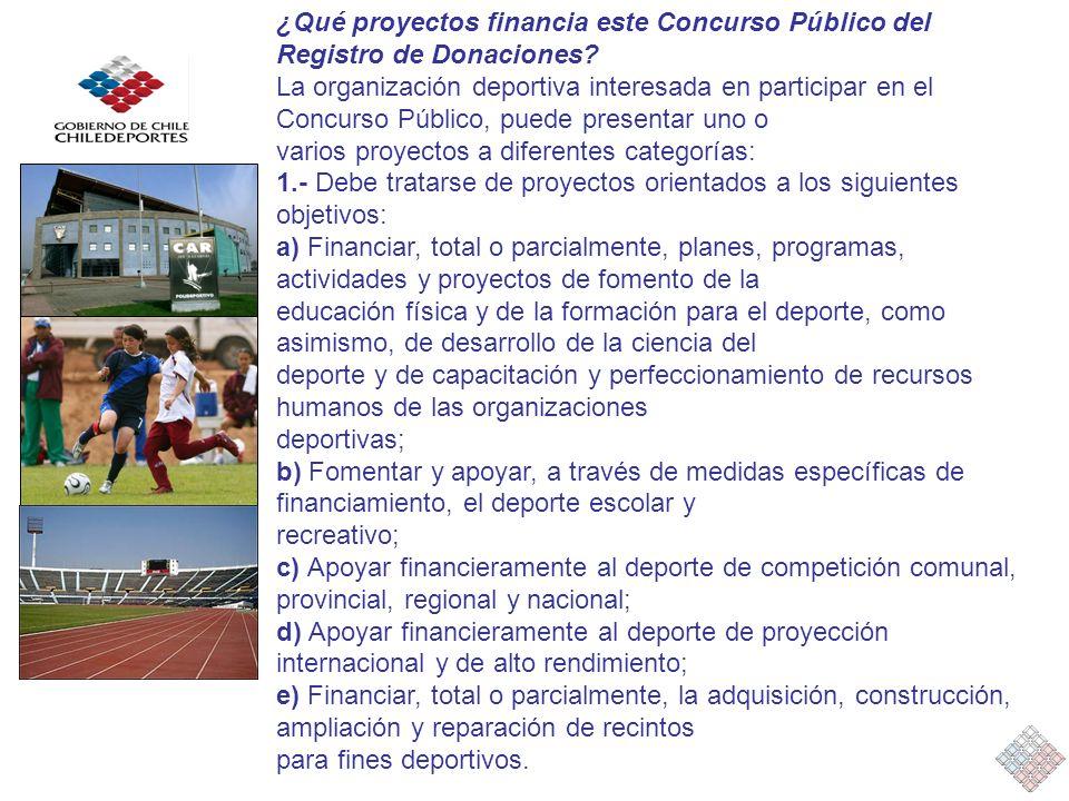 ¿Qué proyectos financia este Concurso Público del Registro de Donaciones? La organización deportiva interesada en participar en el Concurso Público, p
