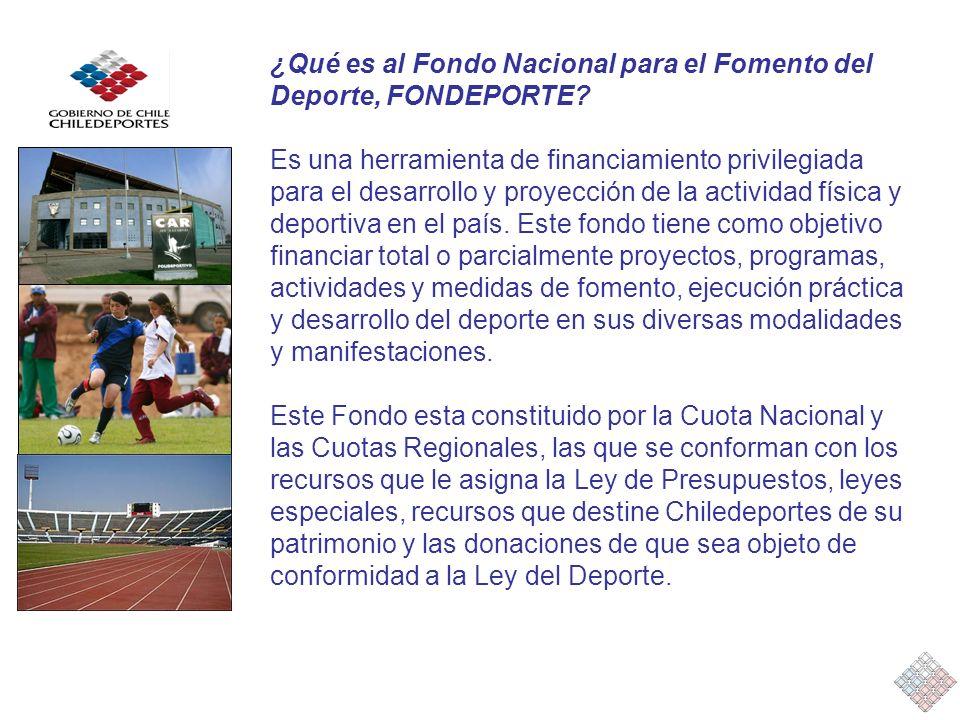 ¿Qué es al Fondo Nacional para el Fomento del Deporte, FONDEPORTE? Es una herramienta de financiamiento privilegiada para el desarrollo y proyección d
