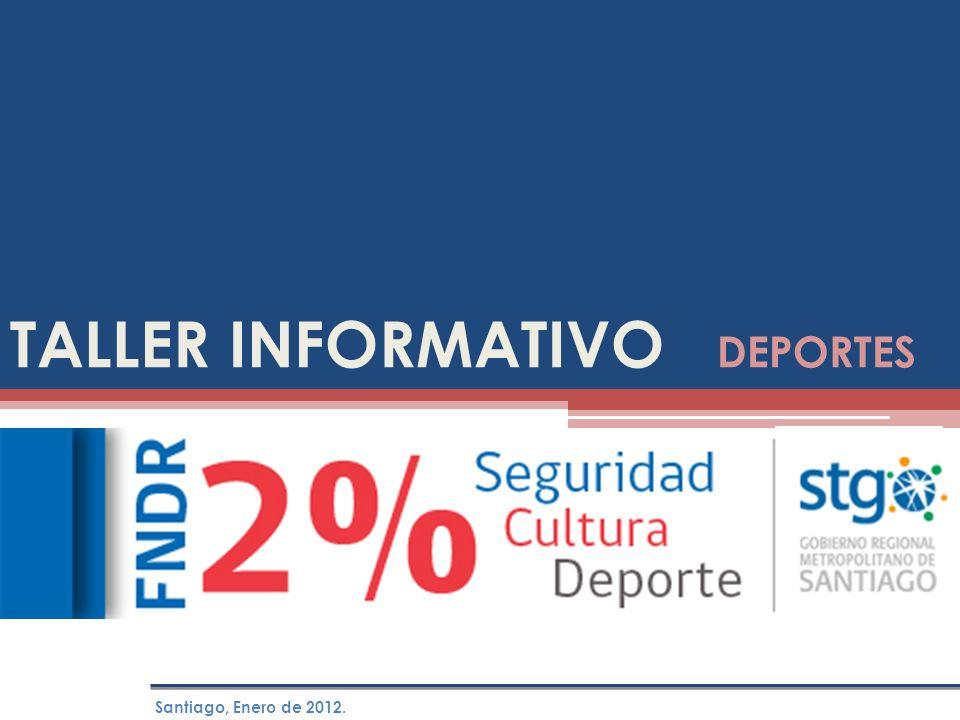 TALLER INFORMATIVO DEPORTES Santiago, Enero de 2012.