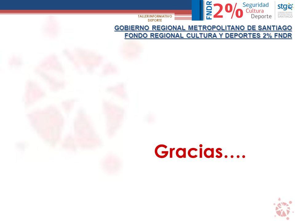 GOBIERNO REGIONAL METROPOLITANO DE SANTIAGO FONDO REGIONAL CULTURA Y DEPORTES 2% FNDR TALLER INFORMATIVO DEPORTE Gracias….